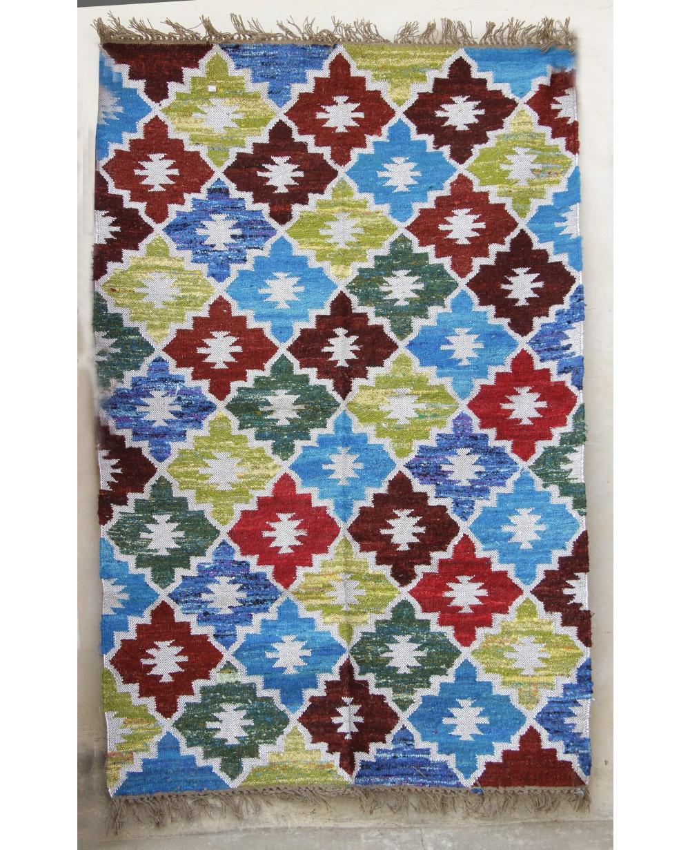 Designer Handweave Punja Dhurrie With Kilim Fabric Specially