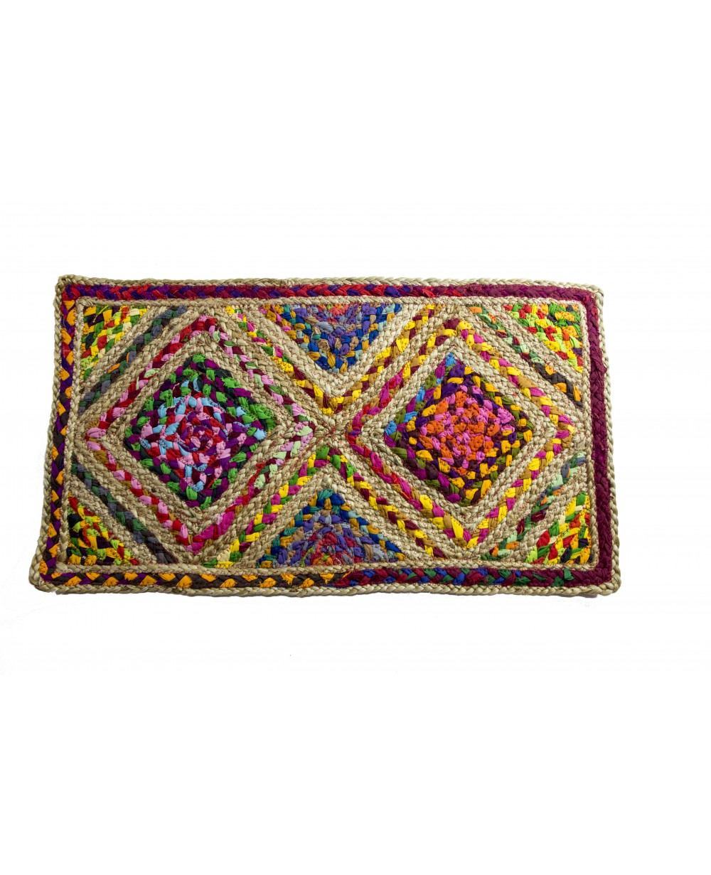 Handscart Handcrafted Chindi Jute Round Colorful Natural