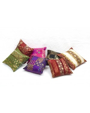 "Designer handcrafted ""la badam"" Decor  Cushion Covers Set of 5 Cushions Cover Vintage  Style Handmade Kantha Designed in Paris, Crafted India. Malayalm work"