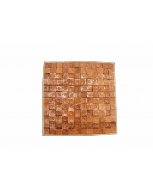 Handscart Specially stiching leather Handmade Abstract Design Cushion in Pure ecofriendly leather one Piece (Blocky_Leather)
