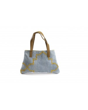 Panja Classics Women's Designer Dhurrie Shoulder Bag - Natural Color weave Rugs & Genuine Leather Hobo Style Purse Handbag For modern girls, Designed In Paris, Crafted by Artisans