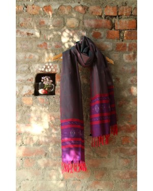 Indigenous Tangaliya craft silk stoles  designed by amounee crafted by bhuj  women's artisans through tangaliya art  on natural silk.