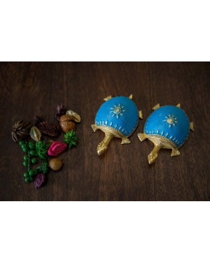 Dhokra Tortoise Table Top Set- Sky Blue