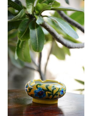 Handmade Blue Pottery Ash tray  floral print Turquoise Colour  5*10*5 Cm
