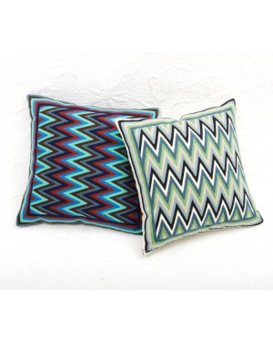 """Designer handcrafted """"la badam"""" Decor  Cushion Covers One Piece Cushions Cover (NO FILLER) Vintage  Style Handmade Kantha Designed in Paris, Crafted India."""