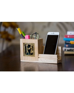 Pine Wood Pen Stand With Mobile Holder
