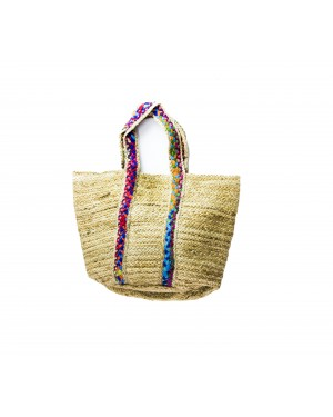 Handscart Handcrafted Boho Design Women's Tote Bags withEcofriendly jute for all purpose.(Malaika Mix Tote_Jute )