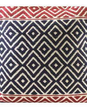 Handscart Handmade Contrast Color 100% Handweave Boro Stripe Design Cotton Cushion Cover Pack of 1 Pcs ( 22x22 inch) Front-Cotton Rug & Back- Cotton