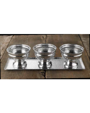 Handscart Vintage house brass aluminium  decorative Ice cream bowls vintage silver hammered  brass pedestrial centrepiece bowl set of three with a tray