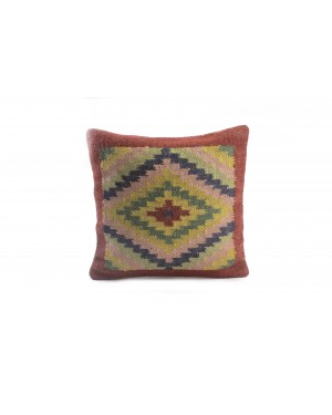 Handscart Handwoven Throw Jute Pillow Cases Jute Cushion Cover Handwoven Kilim Pillow Covers Vintage Kilim Rug Cushions Covers 18''x18'' Hand Washable with Cold Water Sofa Back Cushion Cover