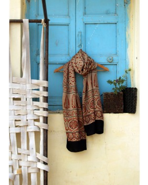 Ancient Ajrakh art craft cotton stoles  designed by amounee crafted by Ajrakh  women's artisans through ajrakh art  on natural cotton, Ajrakh print is 100% natural and eco friendly