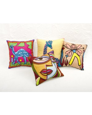 """Designer handcrafted """"la badam"""" Decor  Cushion Covers 4 Piece Cushions Cover (NO FILLER) Vintage  Style Handmade Kantha Designed in Paris, Crafted India."""