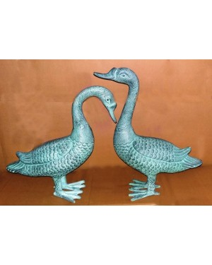 Rustic Iron Hammered Resting  Duck Figurine, Rust Rought Iron  6 x 12.5 x 13.75 Inches