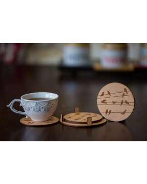 Round Coasters With Birds Design Engraved