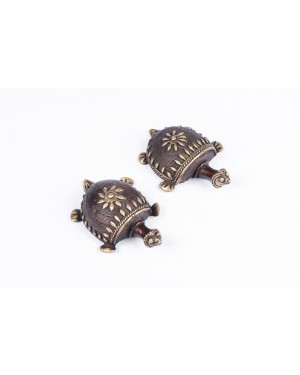 Dhokra Art Tortoise Table Top Set- Brown