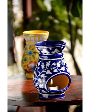Handmade Blue Pottery Oil Diffuser/Oil  Burner Blue Colour  6 inches