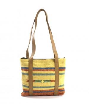 Panja Classics Women's Designer Dhurrie Shoulder Bag - Natural Color weave Rugs & Genuine Leather Hobo Style Purse Handbag For modern girls, Designed In Paris, Crafted by Artisan