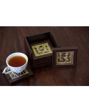 Dhokra Coaster Set With Stand