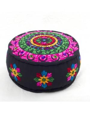 Badmeri Vintage Ottoman Indian Kantha  embroidery Work New Style Footstool  Pouf ottoman with Designer hand work.
