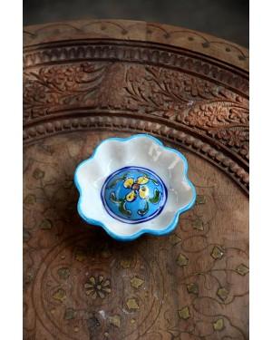 Handmade Blue Pottery Incense holder floral print MultiColour