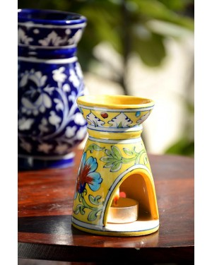 Handmade Blue Pottery Oil Diffuser/Oil  Burner Yellow Colour  6 inches