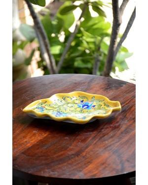 Handmade Blue Pottery Bathroom Ensemble 1 pieces with liquid soap dispenser soap floral print MultiColour