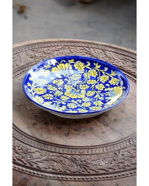 Handmade Blue Pottery designer plates for snacks and bowl for any occasion floral print MultiColour