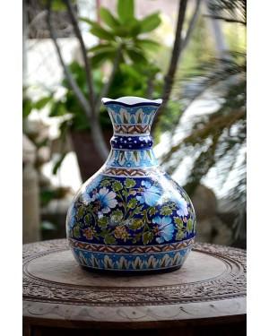Handmade Blue Pottery Designer Flower pot and Vessel for multipurpose  floral print MultiColour