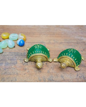 Dhokra Tortoise Table Top Set- Green