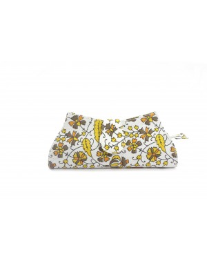 Flower Printed Women's Clutches bags - Natural Color Block Print & Genuine Hard Cover Hobo Style Clutch For modern girls, Designed In Paris, Crafted by Artisans