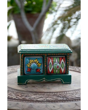Handmade Blue Pottery Designer Crafted mini drawer with two boxes  floral print MultiColour