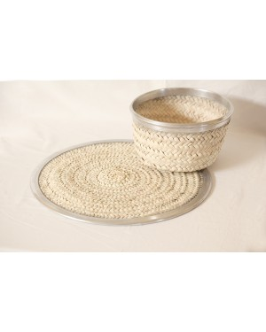 Sosal Crochet designer handcrafted beads baskets with ecofriendly beads baskets and Mat (Pack of 2)