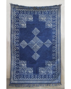 Handblock Indigo Dabu Printed Indian Dhurries Area Rugs Vegetable Dye, 100% Handweave with Natural Color for Any area in home.