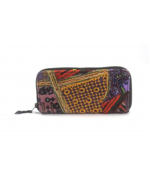 La Dau Panja Classics Women's Designer Kantha embroidery Clutch - Natural Color weave Rugs & Genuine Leather Hobo Style Purse Handbag For modern girls, Designed In Paris, Crafted by Artisans