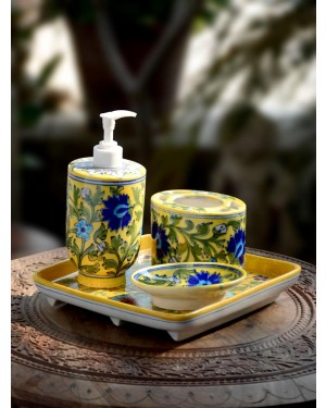 Handmade Blue Pottery Bathroom Ensemble 4 pieces with liquid soap dispenser soap tray toothbrush tray  floral print MultiColour