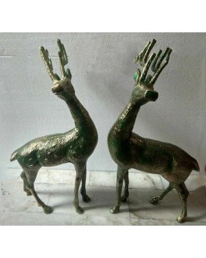 Rustic Iron Hammered Resting  DeerFigurine, Rust Rought Iron  6 x 12.5 x 13.75 Inches