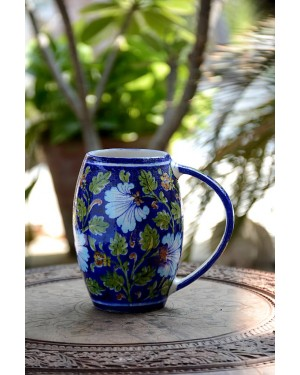 Handmade Blue Pottery Designer Beer Mug Pitcher with handle in natural color for any party or home use  floral print MultiColour
