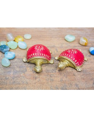 Dhokra Art Tortoise Table Top Set- Red
