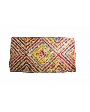 Handscart Handcrafted Chindi Jute Round Colorful Natural Jute Chindi Sisal Woven Area Braided Rug Boho Bohemian Indian