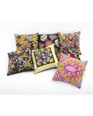 "Designer handcrafted ""la badam"" Decor  Cushion Covers Set of 5 Cushions Cover Vintage  Style Handmade Kantha Designed in Paris, Crafted India. Bhujodi Work"