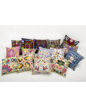 "Designer handcrafted ""la badam"" Decor  Cushion Covers Set of 5 Cushions Cover Vintage  Style Handmade Kantha Designed in Paris, Crafted India. Sujani Embrodiery"