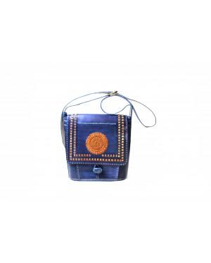 Handscart Abstract designer Shoulder bag Genuine leather handcrafted shoulder bag Red Leather Messenger shopping hand tooled bag with block print design