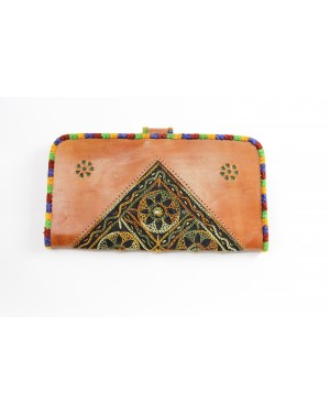 Handscart Abstract designer Pink Handclutch bag Genuine leather handcrafted Clutch bag with Kantha embroidery Pink Leather Messenger shopping hand tooled bag with block print design
