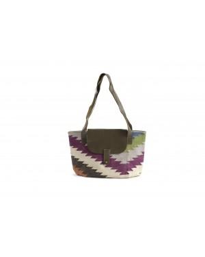 La Dau Panja Classics Women's Designer Dhurrie Shoulder Tote bags - Natural Color weave Rugs & Genuine Leather Hobo Style Purse Handbag For modern girls, Designed In Paris, Crafted by Artisans