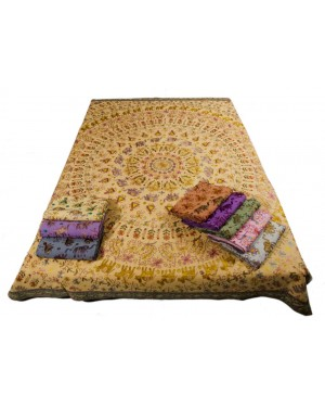 Designer Handcrafted Handmade Quilt,  Bohemian Bedding, Throw Blankets, Indian Bedcover,  Cotton Kantha Bedding, Vintage Kantha Quilt, Single Bed