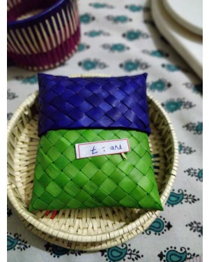 Handscart Handmade Abstract Design Cane Boxes Basket with multicolor cane made by spcial stiching process with banana leaf ecofriendly and organic