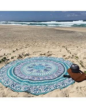 Natural Fabric and bio Dyes Round Beach Tapestry hippie/Boho Mandala Beach Towel Blanket Indian Cotton Bohemian Round Table cloth Mandala Decor/Yoga Mat Meditation Picnic Rugs