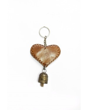 Handscart Special designer Handcrafted Key chain with Cow bell made of copper with a melodious tone Design Unisex Key Chain(Key Key_Leather And Metal)