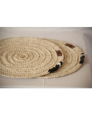 Sosal Crochet designer handcrafted beads baskets with ecofriendly beads mat (set of 2)
