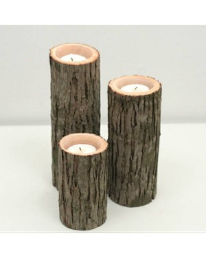Ecofriendly Bamboo Classic Wooden handcrafted Candle Stand- Set of 3 , with Bamboo and  crafted by natural woods.